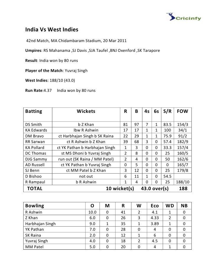 India Vs West Indies42nd Match, MA Chidambaram Stadium, 20 Mar 2011Umpires: RS Mahanama ,SJ Davis ,SJA Taufel ,BNJ Oxenfor...