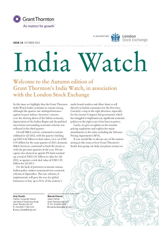 In association withISSUE 18 OCTOBER 2012India WatchWelcome to the Autumn edition ofGrant Thornton's India Watch, in associ...