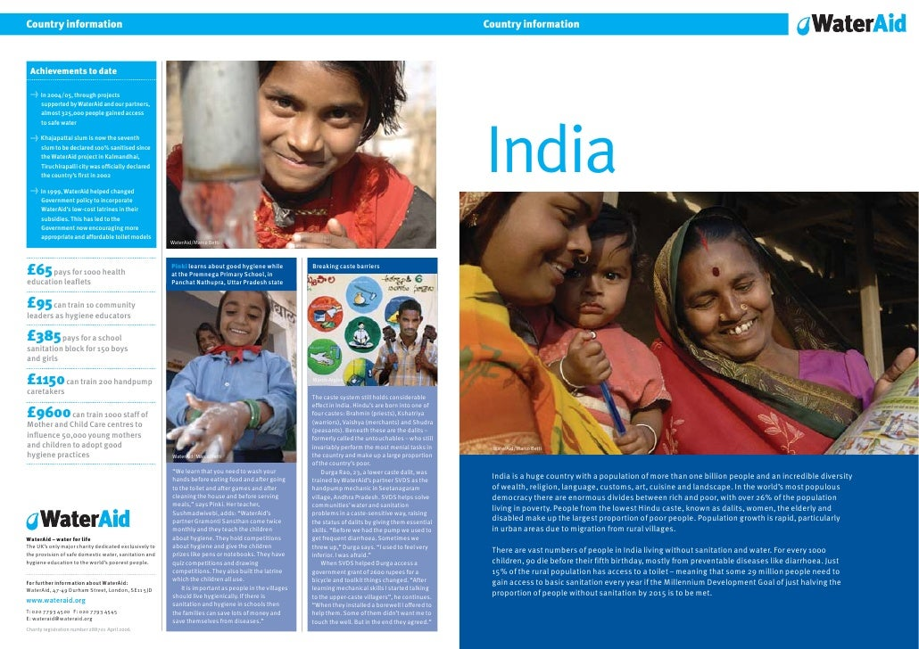 Country information     India     WaterAid/Marco Betti      India is a huge country with a population of more than one bil...