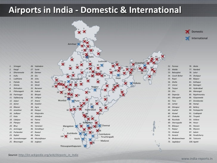 Domestic Airport In India Map PPT Map on India Airport Infrastructure