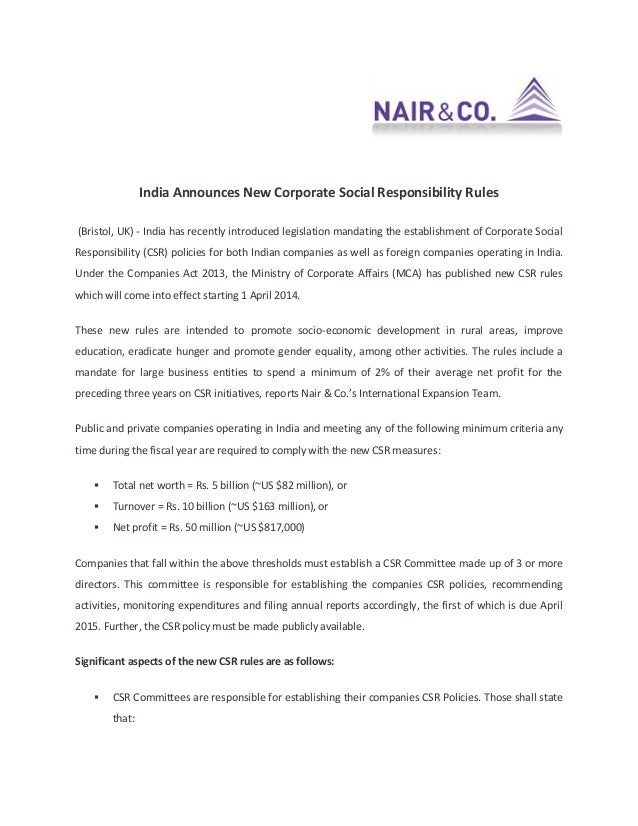 India Announces New Corporate Social Responsibility Rules (Bristol, UK) - India has recently introduced legislation mandat...