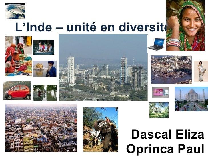 L'Inde – unité en diversité