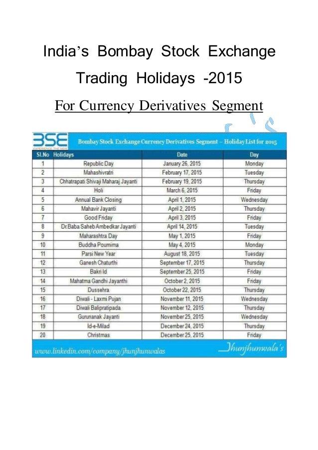 India Bombay Stock Exchange Trading Holidays for 2015