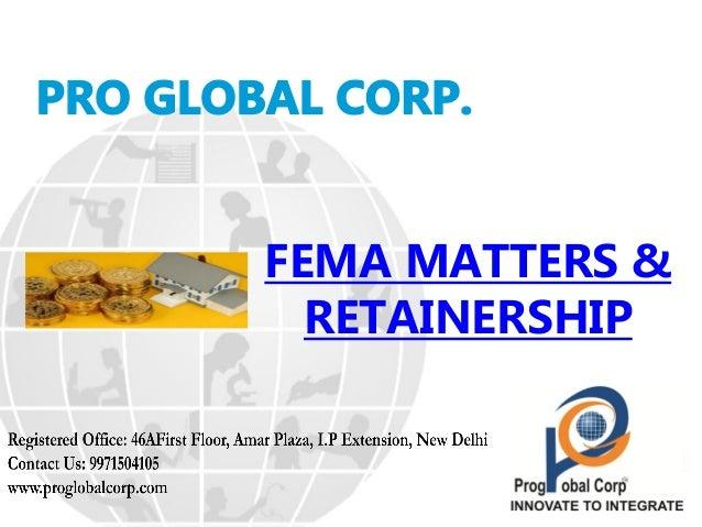 FEMA MATTERS & RETAINERSHIP