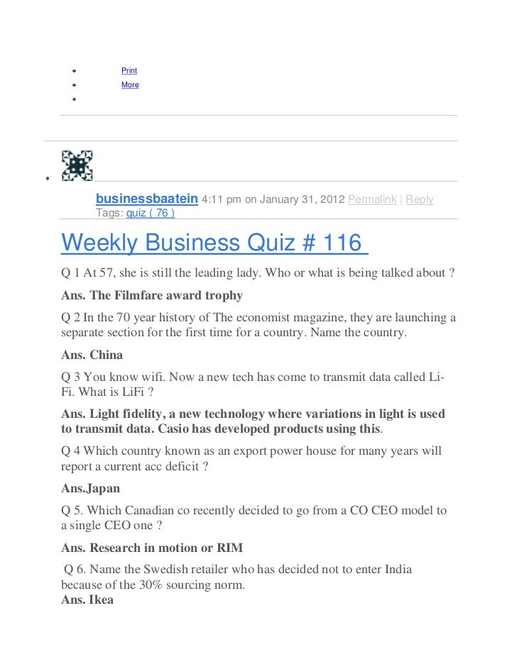 Weekly Business Quiz # 433