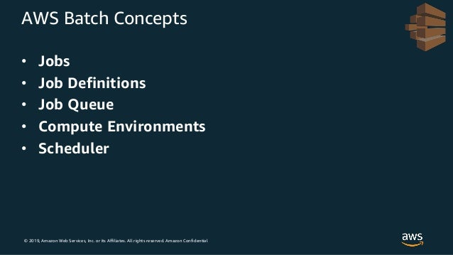 © 2019, Amazon Web Services, Inc. or its Affiliates. All rights reserved. Amazon Confidential AWS Batch Concepts • Jobs • ...