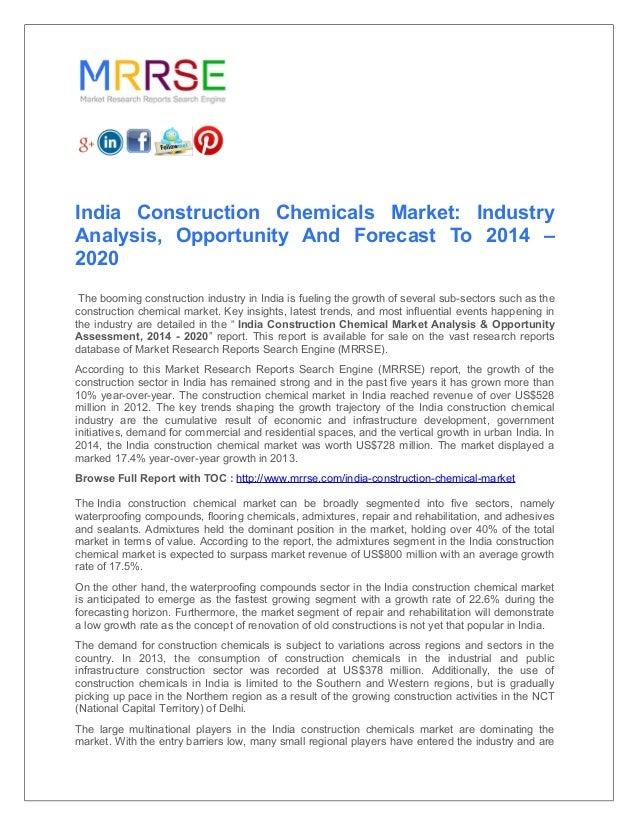 India construction chemicals market industry analysis, opportunity a…
