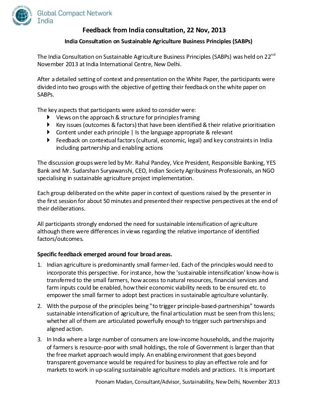 Feedback from India consultation, 22 Nov, 2013 India Consultation on Sustainable Agriculture Business Principles (SABPs) T...