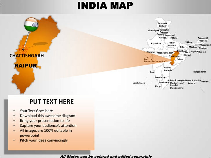 india map ppt template - india country editable powerpoint maps with states and