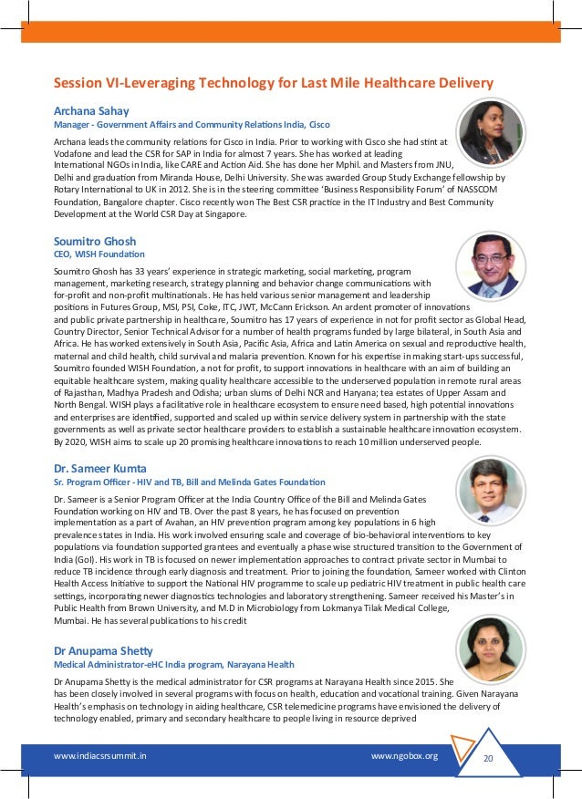 India CSR Summit 2016 Brochure