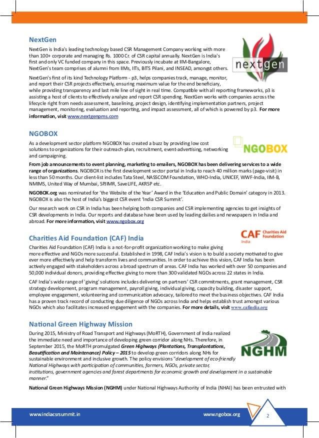 India CSR Summit 2016 Brochure Slide 3