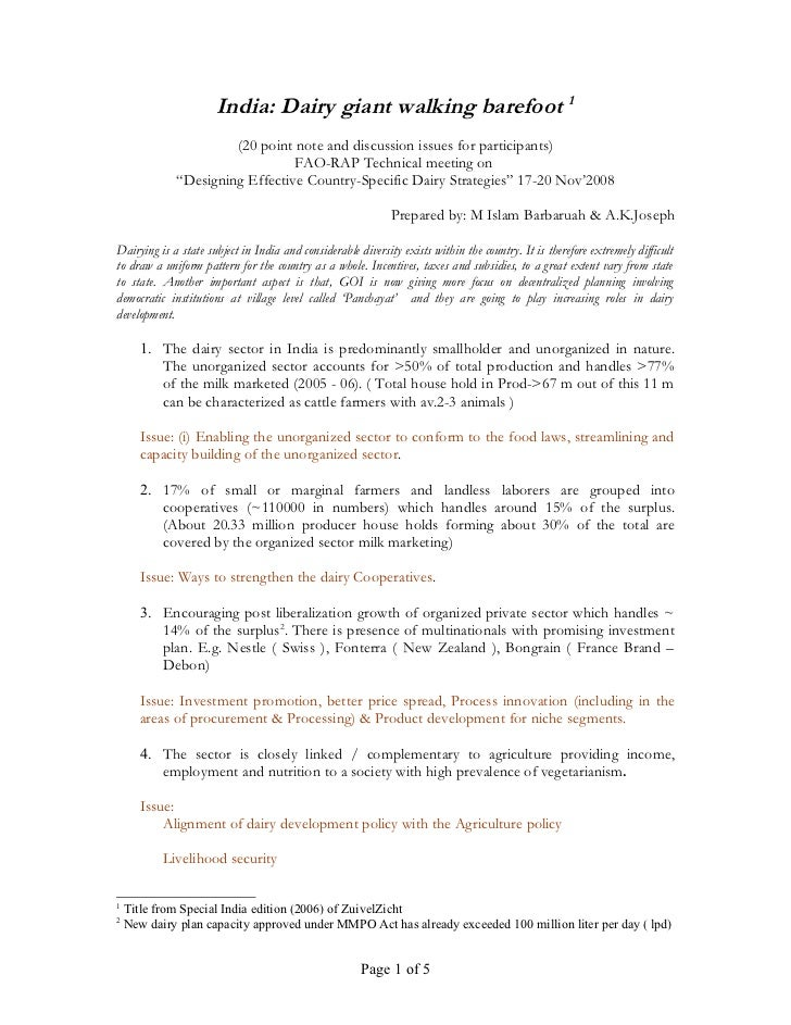 India: Dairy giant walking barefoot 1                      (20 point note and discussion issues for participants)         ...