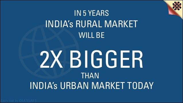 IN 5 YEARS  INDIA's RURAL MARKET WILL BE  2X BIGGER THAN  INDIA's URBAN MARKET TODAY Story told by IDEATELABS
