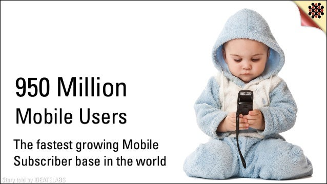 950 Million Mobile Users The fastest growing Mobile Subscriber base in the world Story told by IDEATELABS
