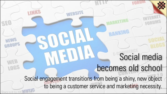 Social media becomes old school Social engagement transitions from being a shiny, new object to being a customer service a...