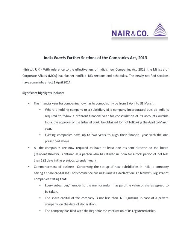 India Enacts Further Sections of the Companies Act, 2013 (Bristol, UK) - With reference to the effectiveness of India's ne...