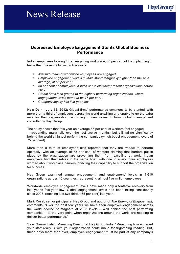 News Release  Depressed Employee Engagement Stunts Global Business                      PerformanceIndian employees lookin...