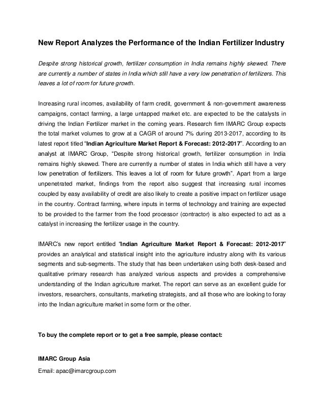 New Report Analyzes the Performance of the Indian Fertilizer IndustryDespite strong historical growth, fertilizer consumpt...
