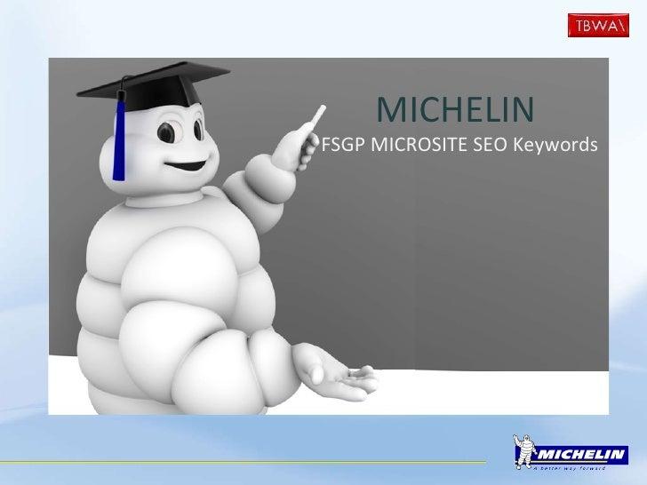 MICHELIN   FSGP MICROSITE SEO Keywords