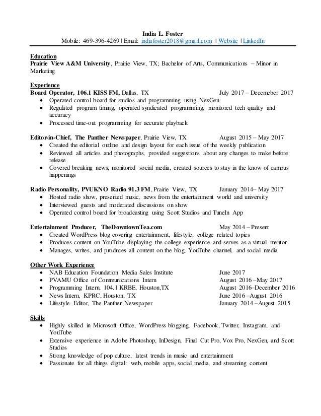 India Foster resume