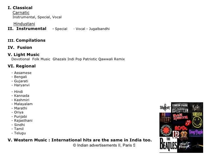 I. Classical   Carnatic   Instrumental, Special, Vocal   Hindustani II. Instrumental   ·  Special  · Vocal- Ju...