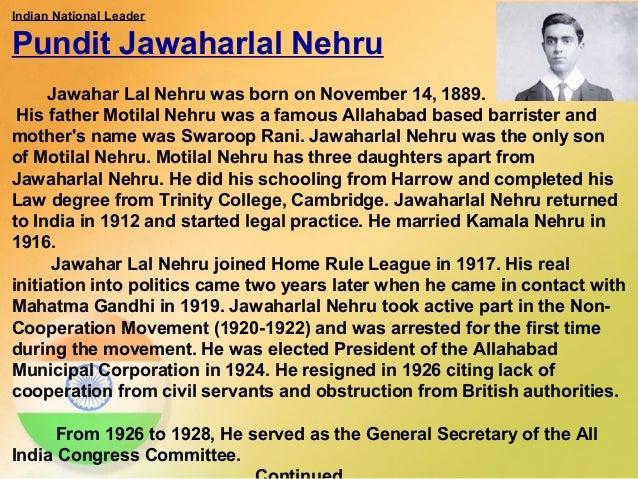 paragraph on pandit jawaharlal nehru