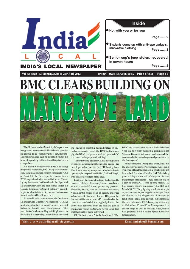 Price : Rs.2 Page : 8RNI No. : MAHENG/2011/38665INDIAS LOCAL NEWSPAPERVol.:2 Issue:43 Monday, 22nd to 28thApril 2013Page ....