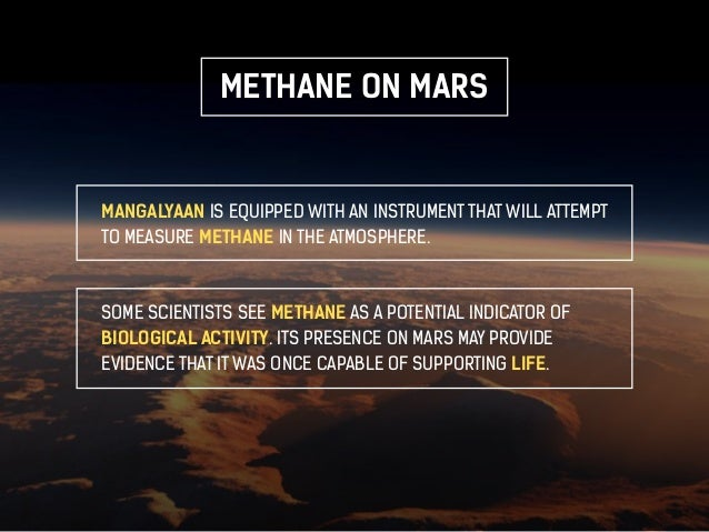 METHANE ON MARS  MANGALYAAN IS EQUIPPED WITH AN INSTRUMENT THAT WILL ATTEMPT  TO MEASURE METHANE IN THE ATMOSPHERE.  SOME ...