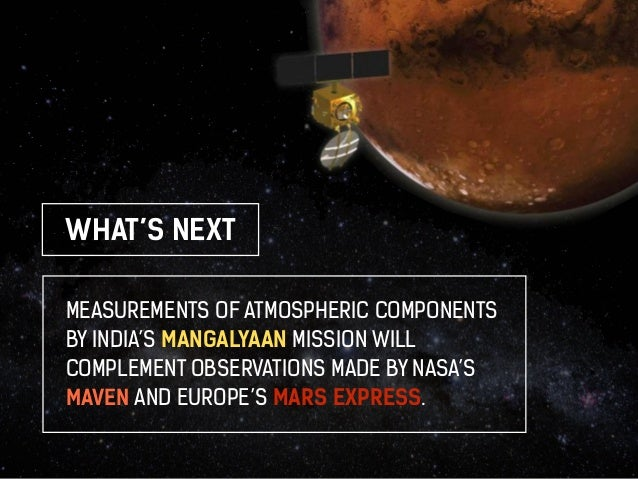 WHAT'S NEXT  MEASUREMENTS OF ATMOSPHERIC COMPONENTS  BY INDIA'S MANGALYAAN MISSION WILL  COMPLEMENT OBSERVATIONS MADE BY N...