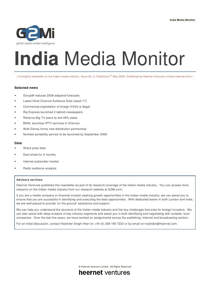 India Media Monitor     India Media Monitor  | Fortnightly newsletter on the Indian media industry | Issue No. 2, Publishe...