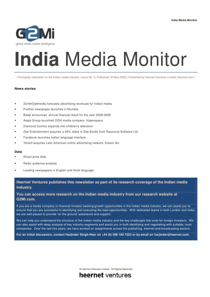 India Media Monitor     India Media Monitor   Fortnightly newsletter on the Indian media industry   Issue No. 3, Published...