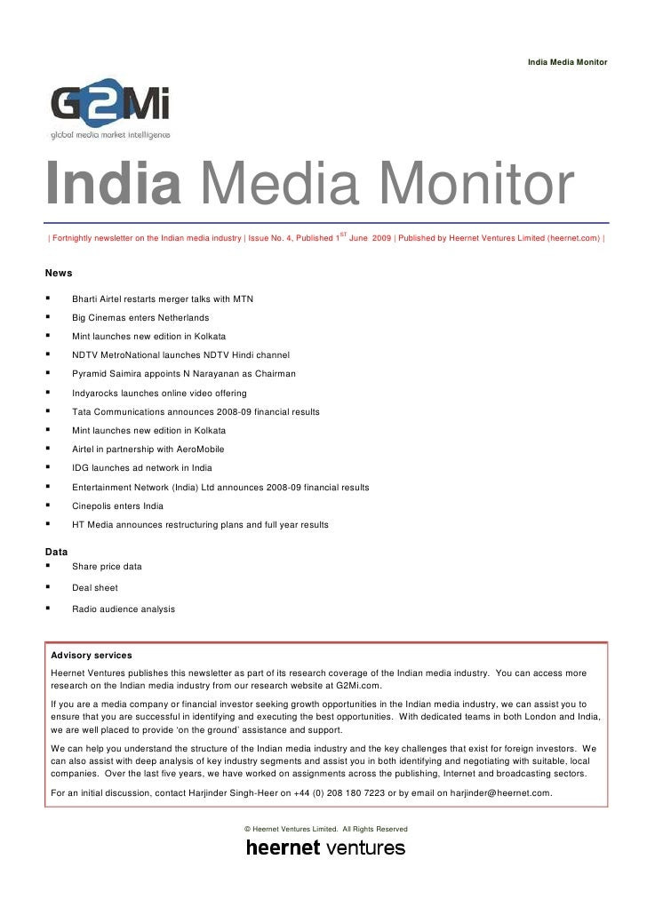 India Media Monitor     India Media Monitor | Fortnightly newsletter on the Indian media industry | Issue No. 4, Published...