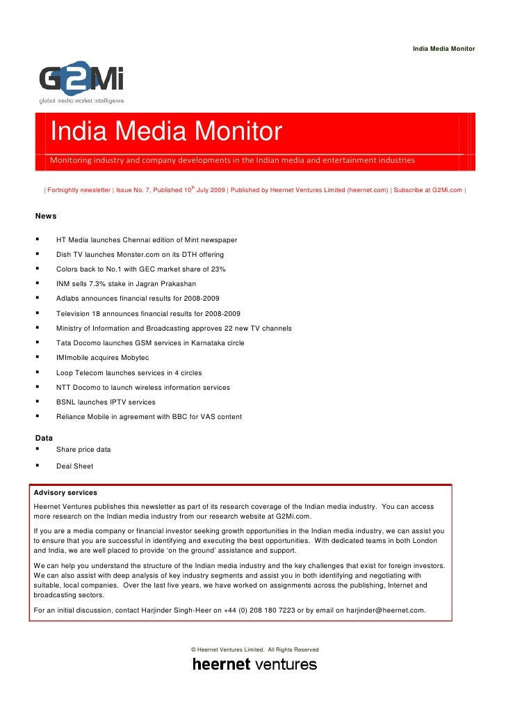 India Media Monitor         India Media Monitor     Monitoring industry and company developments in the Indian media and e...