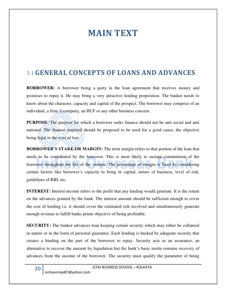 Indian Overseas Bank Sip Report Loans And Advances Management