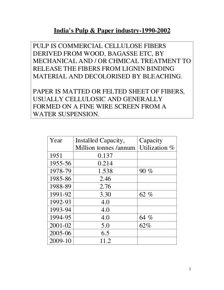 India's Pulp & Paper industry-1990-2002PULP IS COMMERCIAL CELLULOSE FIBERSDERIVED FROM WOOD, BAGASSE ETC, BYMECHANICAL AND...
