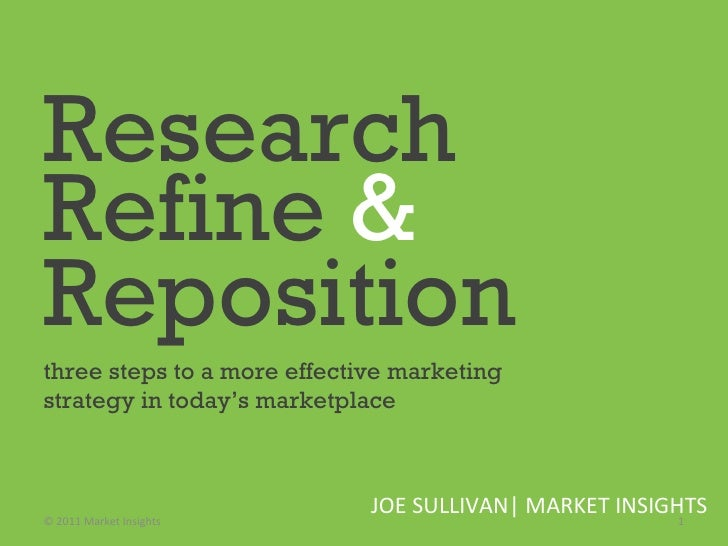 Research   Refine  &   Reposition   three steps to a more effective marketing strategy in today's marketplace  JOE SULLIVA...