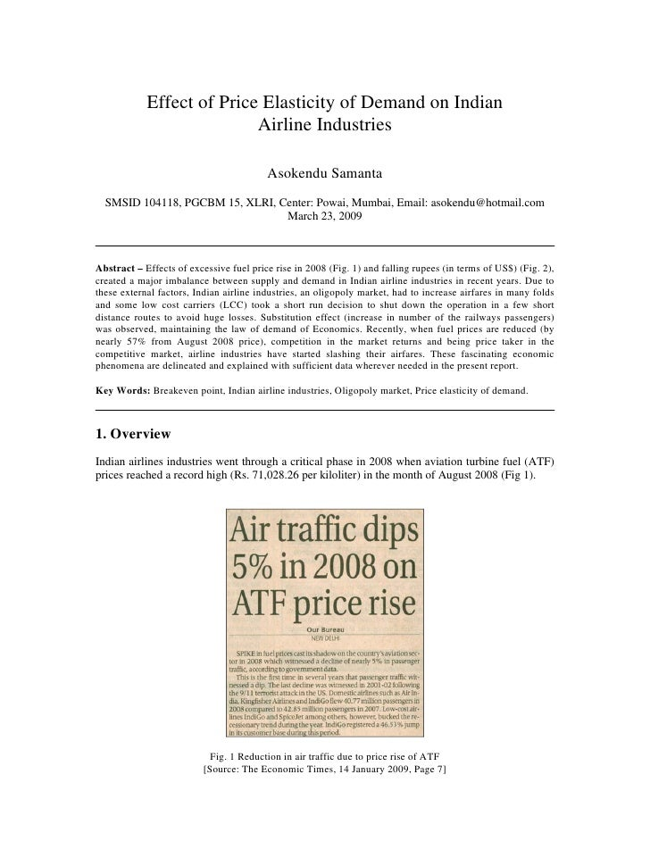 Effect of Price Elasticity of Demand on Indian                           Airline Industries                               ...