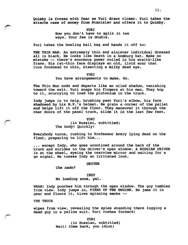 indiana jones and the city of the gods frank darabont script