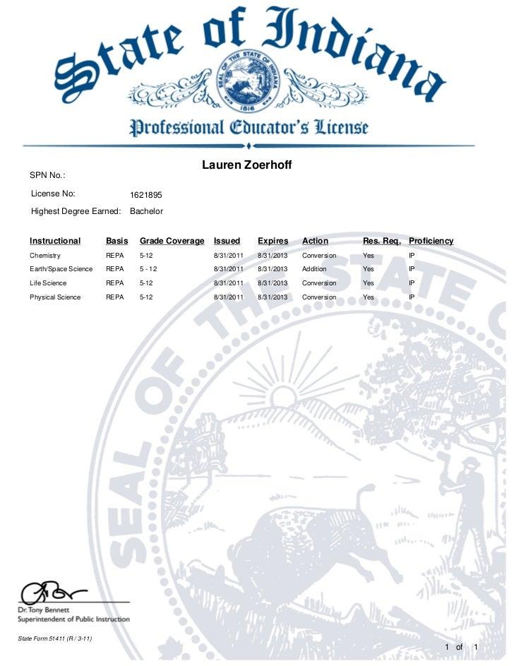 Lauren Zoerhoff    SPN No.:    License No:                       1621895    Highest Degree Earned:            Bachelor    ...