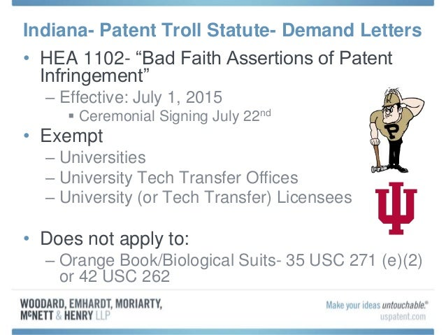 Indiana Patent Troll Statute For Demand Letters HEA 1102 Bad Faith Assertions Of Infringement 2