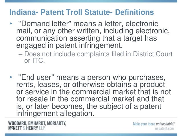 3 Indiana Patent Troll Statute Definitions O Demand Letter