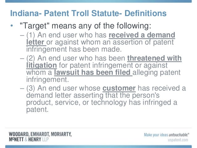 Recent Change To The Indiana Code Address Patent Demand Letters Fr