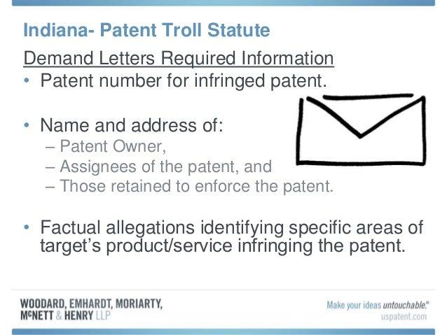 7 Indiana Patent Troll Statute Demand Letters