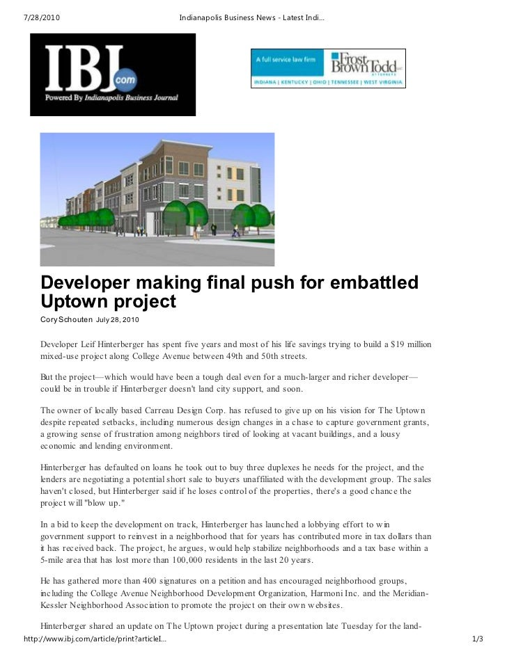 7/28/2010                                    Indianapolis Business News - Latest Indi…    Developer making final push for ...