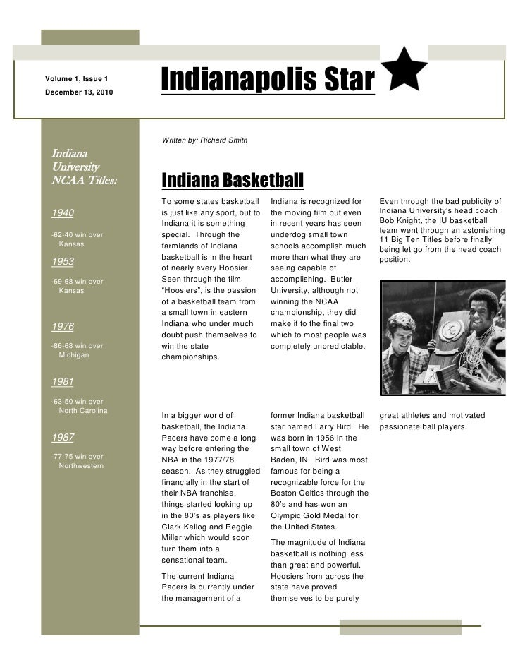 Volume 1, Issue 1December 13, 2010                    Indianapolis Star                    Written by: Richard Smith India...