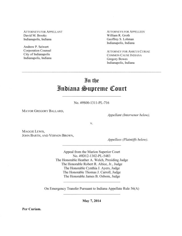 Indiana Supreme Court decision on redistricting case