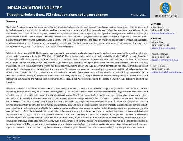 ICRA LIMITED Fver Summary The Indian Aviation Industry has been going through a turbulent phase over the past several year...