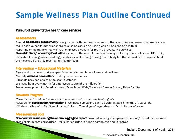 personal health and wellness plan