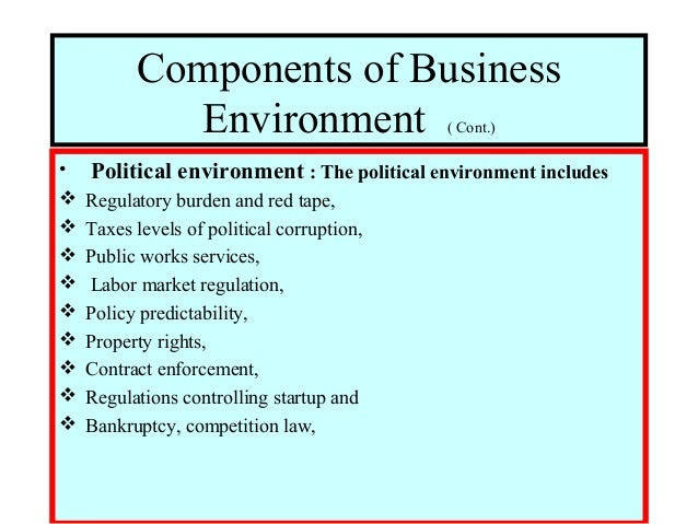 components of business environment An organization's external environment consists of outside factors that influence  its operations these include competition, economic landscape.