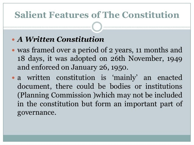 write an essay on the salient features of the indian constitution The constitution of india is the supreme law in indiathe constitution is the framework for political principles, procedures, and powers of government it's also the longest constitution in.